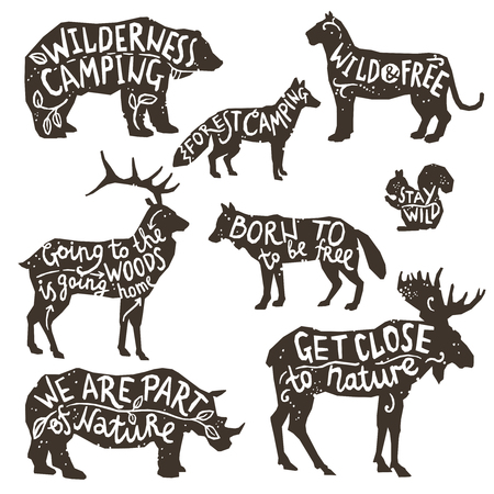 head of animal: Wild animals silhouettes with lettering chalk board isolated vector illustration