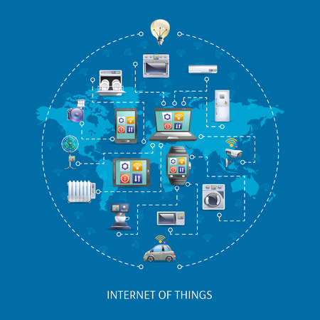 Internet of things iot world  innovative ideas poster with home appliances remote control schema abstract vector illustration