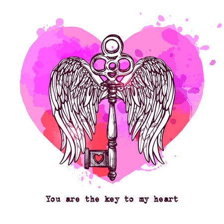hand drawn wings: Love card with key heart and hand drawn wings vector illustration