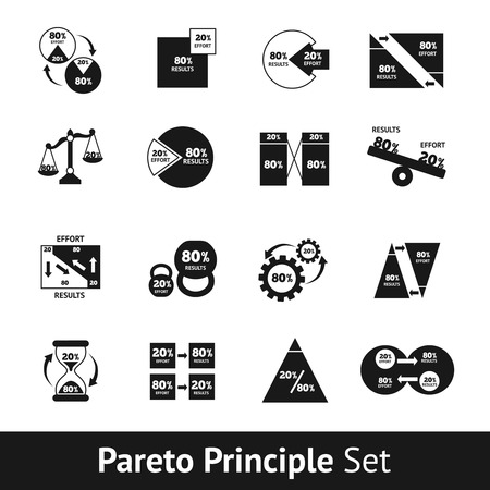 rules: Pareto diagram black and white icons set isolated vector illustration