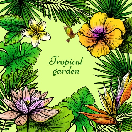 flower sketch: Tropical leaves frame with hand drawn exotic flowers and birds vector illustration Illustration