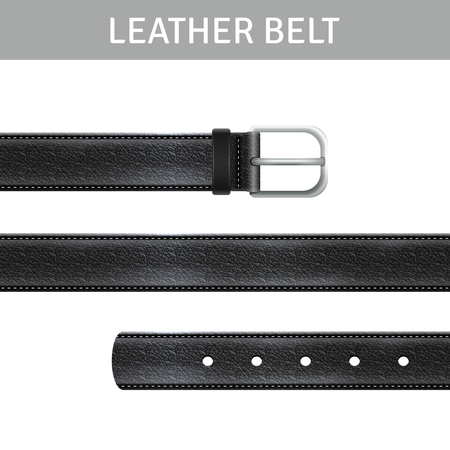 black belt: Black leather belt with buckle and title realistic set isolated vector illustration