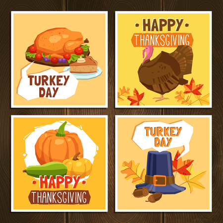 pumpkin pie: Thanksgiving day greeting cards set with traditional symbols and turkey isolated vector illustration