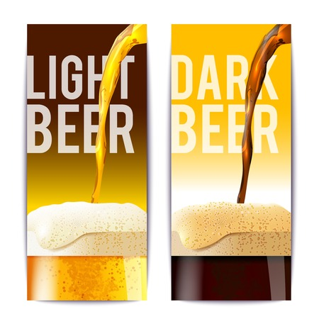 glass bottle: Beer banner vertical set with full realistic glasses isolated vector illustration