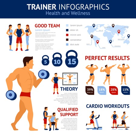workout: Trainer infographics set with sport workout symbols and world map vector illustration
