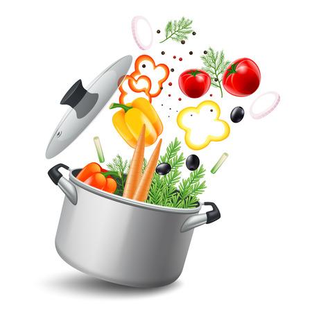 ustensiles de cuisine: Casserole pot avec des légumes tels que les carottes et les poivrons réaliste tomates illustration vectorielle