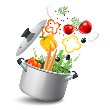 dishes set: Casserole pot with vegetables such as carrots tomatoes and peppers realistic vector illustration