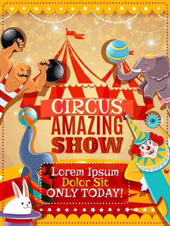 carnaval: Voyager chapiteau de cirque étonnant spectacle annonce affiche vintage avec l'exécution animaux clown et fort abstraite illustration vectorielle