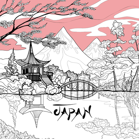 Japan landscape background with sketch pagoda sakura branch and mountains on background vector illustration Stock Illustratie