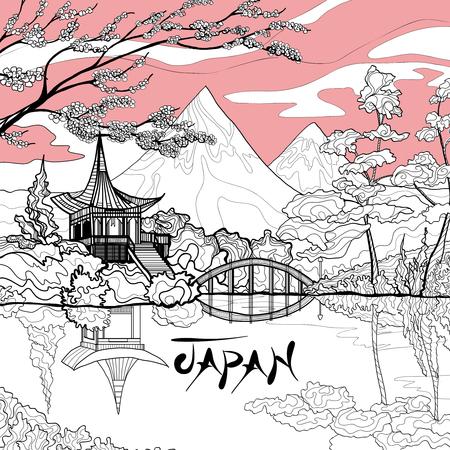 Japan landscape background with sketch pagoda sakura branch and mountains on background vector illustration Illustration