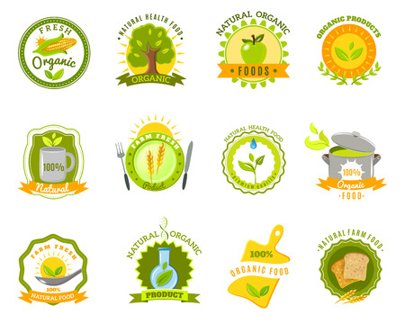 organic farm: Eco organic farm quality  fresh products for healthy natural food emblems icons set abstract isolated vector illustration