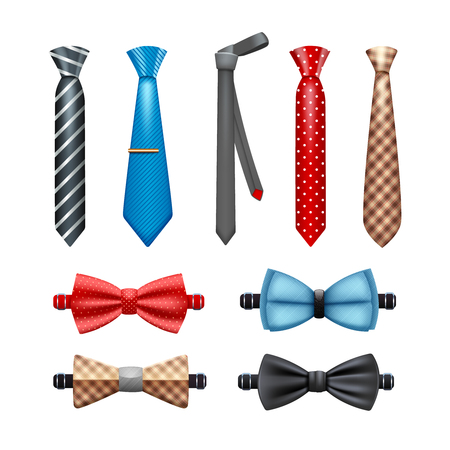 suit tie: Tie and bow tie realistic set in different shapes and colors isolated vector illustration