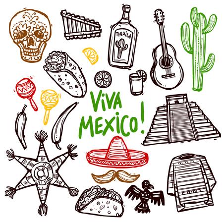 sombrero de charro: Iconos del doodle de México se establece con la dibujados a mano alimentos y cultura símbolos aislados ilustración vectorial Vectores