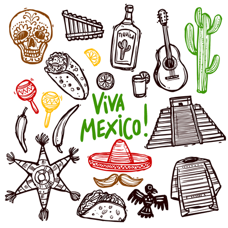 sombrero: Mexico doodle icons set with hand drawn food and culture symbols isolated vector illustration