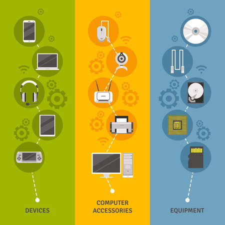 component: Computer equipment and devices with accessories and symbols scheme flat color vertical banner set isolated vector illustration Illustration
