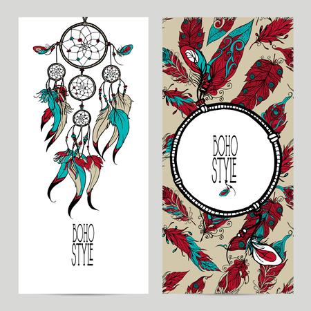 atrapasueños: Banner vertical estilo Boho establece con bosquejo atrapasueños y plumas aislados ilustración vectorial Vectores