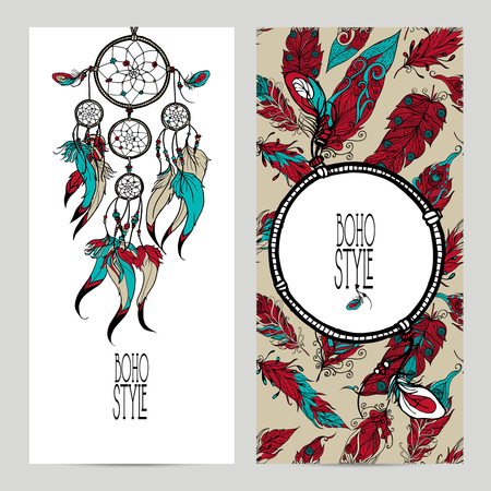 a feather: Boho style vertical banner set with sketch dreamcatcher and feathers isolated vector illustration