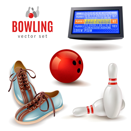 bolos: Bowling iconos realistas establecidas con los zapatos de pelota y alfileres aislados ilustración vectorial Vectores