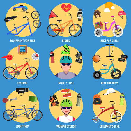 tandem bicycle: Bicycle decorative icons set with man and woman cyclists avatars isolated vector illustration