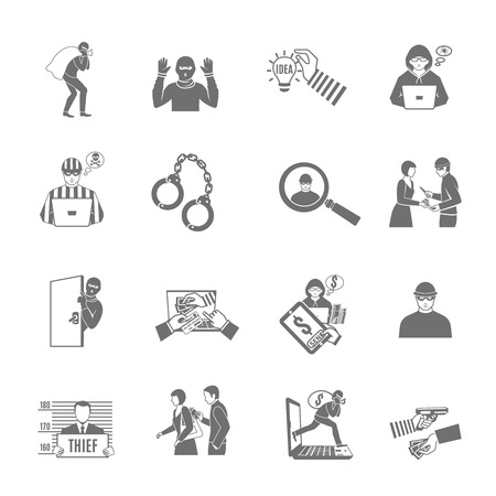 Theft and robbery black white icons set with stealing and breaking flat isolated vector illustration