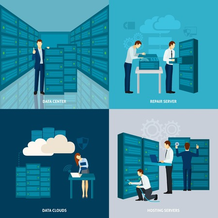 Data center design concept set with hosting servers flat icons isolated vector illustration Illustration