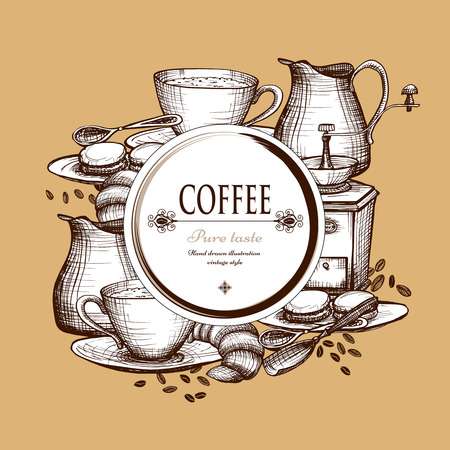 espresso: Traditional vintage style decorative morning coffee set composition with grinder and milk can poster abstract vector illustration