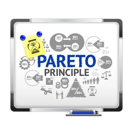 note board: Pareto principle concept on realistic magnet board with paper note vector illustration