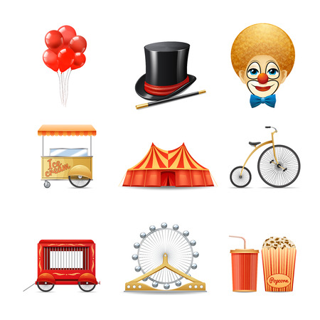 marquee tent: Circus decorative icons set with realistic clown marquee tent bike isolated vector illustration