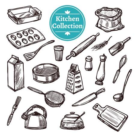 Bakken spullen en retro keukenapparatuur hand getekende set geïsoleerd vector illustratie