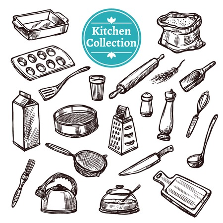 podnos: Pečení věci a retro kuchyňské zařízení ručně kreslenými soubor izolovaných vektorové ilustrace Ilustrace
