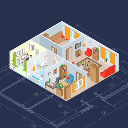 sofa: Isometric room interior concept with 3d kitchen and bathroom furniture icons vector illustration