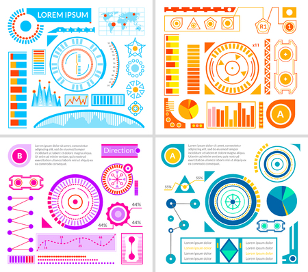 touch screen interface: Hud interface designs set with blue violet and orange templates flat vector illustration