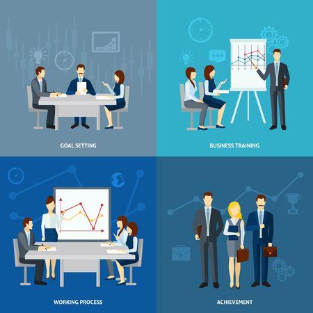 metas: El establecimiento de objetivos en coaching de negocios y capacitación 4 iconos planos composición de la plaza banner abstracto ilustración vectorial