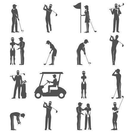 woman golf: Black people playing golf game silhouettes icons set isolated vector illustration Illustration