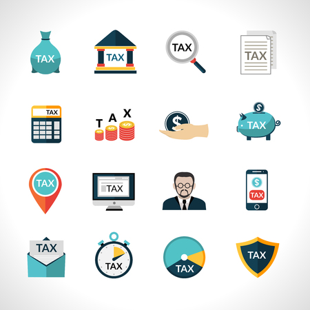 reducing: Tax paying and reducing flat icons set isolated vector illustration Illustration