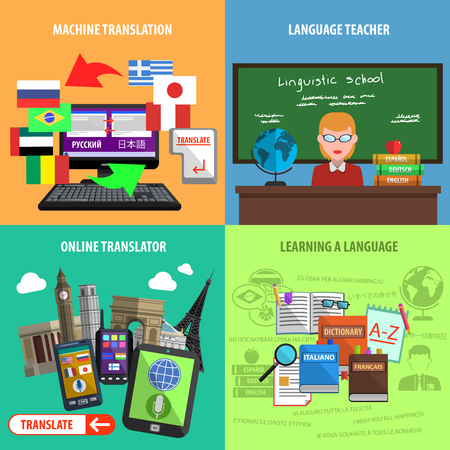 computer language: Square decorative icons with machine translation language teacher and online learning vector illustration
