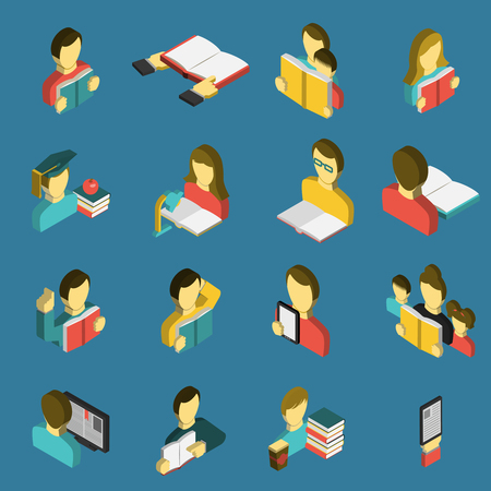 scientific literature: Electronic  e-reader and paper books for study and family reading isometric icons collection abstract isolated vector illustration Illustration