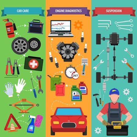 repuestos de carros: Servicio de coche banner vertical conjunto con elementos de diagnóstico del motor aislado ilustración vectorial Vectores