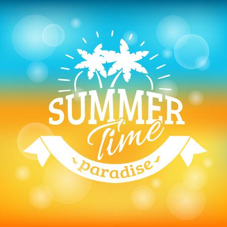 verano: El horario de verano cartel agencia de viajes paraíso vacacional publicidad fondo con playa de arena y el mar ilustración vectorial abstracto Vectores