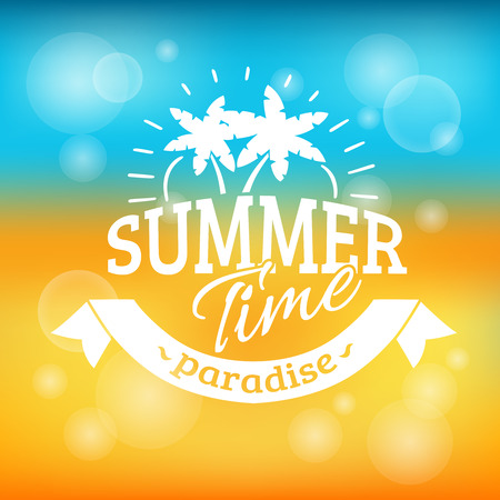 Summer time vacation paradise travel agency advertisement background poster with sand beach and sea abstract vector illustration 版權商用圖片 - 45351456