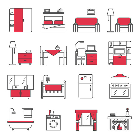 bedroom: Furniture line icons set with bedroom kitchen bathroom and living room red black flat isolated vector illustration