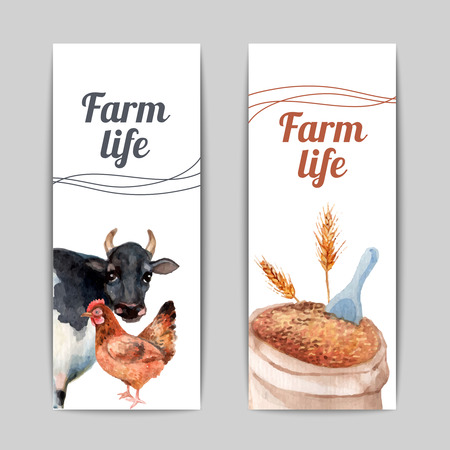 livestock: Domestic animals breeding and crops harvesting farming production 2 vertical flat banners set abstract isolated vector illustration