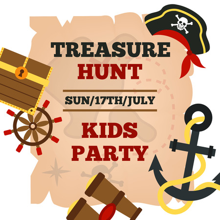 pirate banner: Pirates hunt for treasure adventures kids party announcement poster with time and game accessories abstract vector illustration