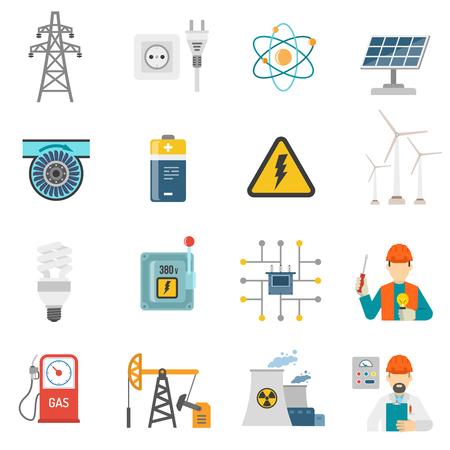 radiacion solar: Sistemas eólicos y solares de generación de energía nuclear iconos planos establecidos con radiación firman aislado ilustración vectorial abstracto