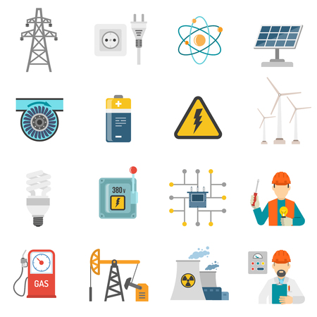 generating: Wind solar and nuclear energy generating systems flat icons set with radiation sign abstract vector isolated illustration