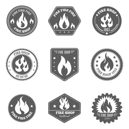 template: Professional fire shop for firefighters supplies gifts accessories black emblems pictograms collection black isolated abstract vector illustration Illustration