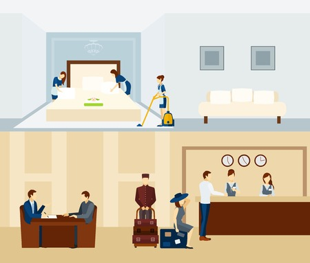recepcion: El personal del hotel banner horizontal establece con aislados personal de recepci�n y sala de ilustraci�n vectorial