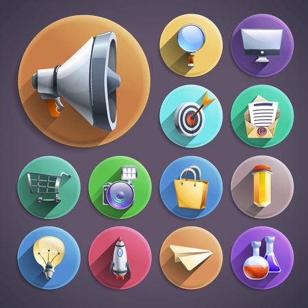 sharing: Successful business innovative digital marketing concept principles symbols flat icons  set round abstract isolated vector illustration