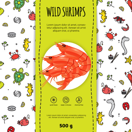 frozen fish: Seafood packaging design for wild shrimps with plate flat vector illustration