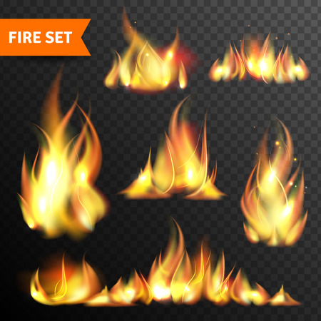 flames icon: Bonfire flames in different sizes and shapes pictograms collection against black night background abstract isolated vector illustration